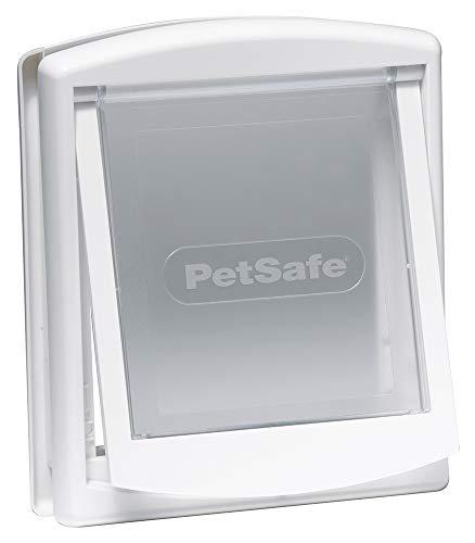 PetSafe Original Staywell – Puerta para Perros y Gatos de Entrada y Salida - Puerta para mascotas - Sistema de Bloqueo disponible (Venta por separado) - Blanco – S