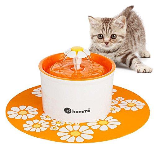 Hommii HP-88 Fuente de Agua para Perros y gatos 1.6L Eléctrico Automático 1.6 L Fuente de Flor Naranja Con Tapete Naranja