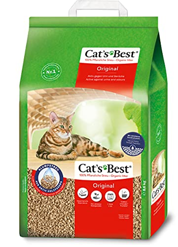 Cat's Best Original   Arena para Gatos Aglomerante 20L (8,6 kg). Tierra para Gatos de Hasta 7 Semanas de Uso. Arena Biodegradable de Fibra Vegetal Ecológica.