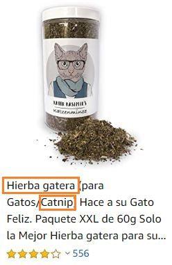 Ejemplo de producto catnip hierba gatera